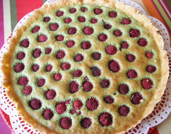 Tarte pistache framboises